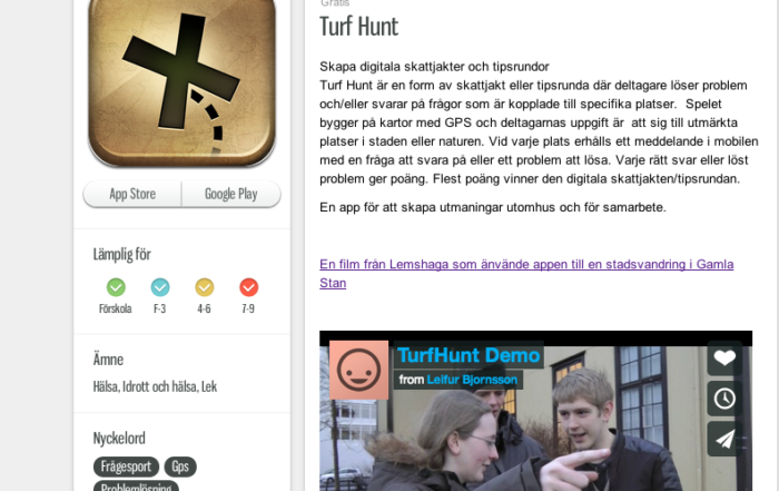 TurfHunt Introduced in the Svedish Kunskapsplattan