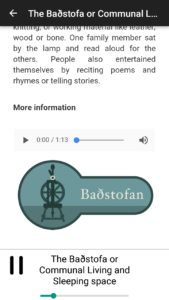 Extra content for visitors; text, images and in some cases more audio-files.