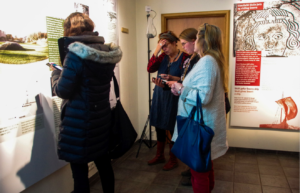 Visitors try out the app