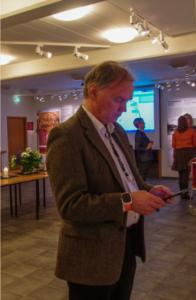 Bergur, Snorrastofa's museum director, checks out the app
