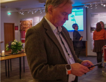 Bergur, Snorrastofa's museum director, checks out the app