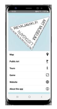 Reykajvik Art Walk app home page